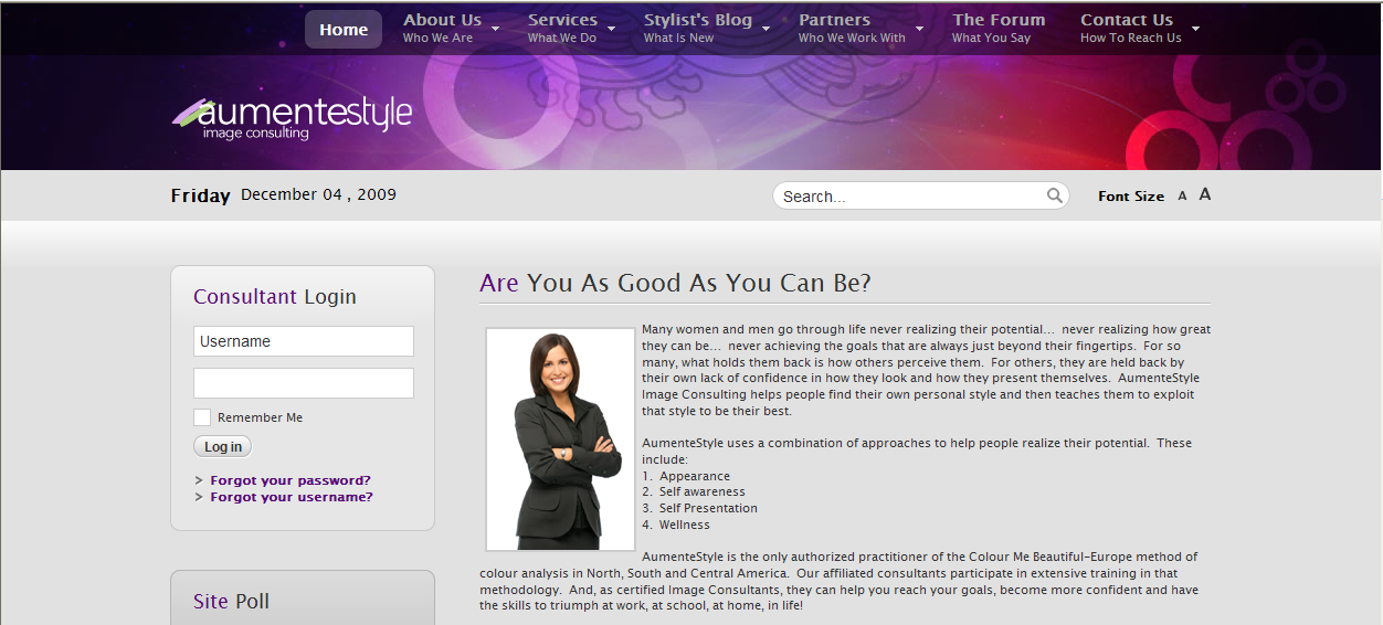 AumenteStyle, Image Consulting Website Designed By The Software Shop